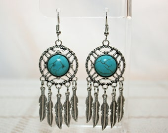 Turquoise and Feathers Chandelier Dangle Earrings Boho Jewellery Fashion Jewelry Earring Gemstone Jewelry, December Birthstone French Hooks
