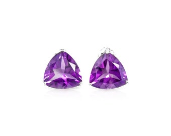 0.89 Ct Trillion Cut Amethyst 10K Solid White Gold Stud Earrings – Floral Lavender Gemstone Estate Jewelry