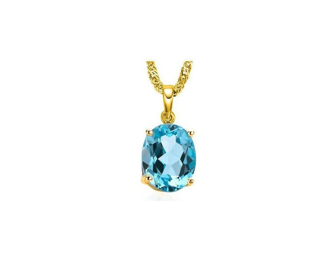 1/2 Carat Sky Blue Topaz 10Kt Solid Yellow Gold Necklace Pendant Jewelry (Necklace Chain not Included)