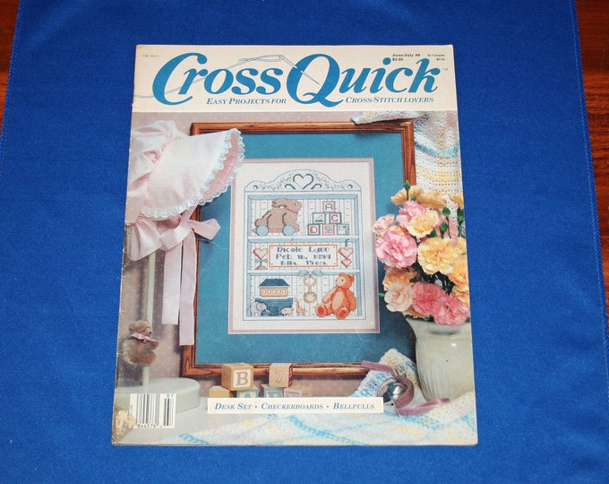 Vintage Cross Quick June July 1989 Cross Stitch Magazine Easy Craft Projects DIY Patterns Project Crafts Pattern