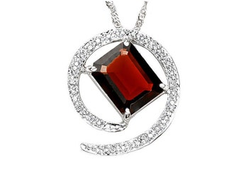 Beautiful 3.60 Ct Garnet and 1/5 Carat Genuine Diamond Pendant Necklace w/ 18 inch 925 Singapore Chain Estate Jewelry Gift Women