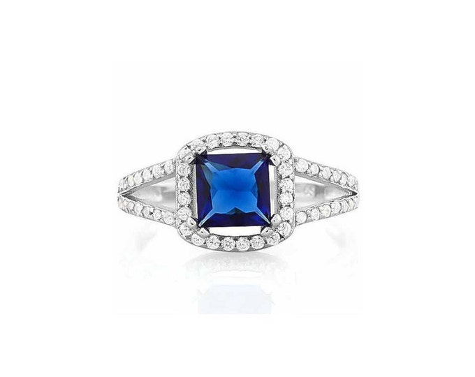 1.5 Ct Created Blue Sapphire and Cubic Zircon CZ Sterling Silver Halo Ring 925 –Cocktail Ring – Statement Ring - Estate Jewelry Size 7