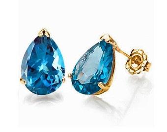 1 Ct London Blue Topaz Earrings 14 Kt Solid Yellow Gold Estate Jewelry Stud Earring