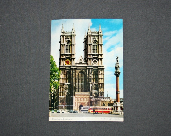 Vintage WESTMINSTER ABBEY London Postcard Unused Photochrome Postcards 1960's Post Card Souvenir Great Britain England KARDORAMA