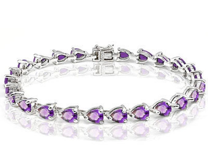 11.85 Ct Amethyst Bracelet Sterling Silver Tennis Bracelet 925 Pear Cut Gemstone Estate Statement Jewelry Purple Gift Women Birthday