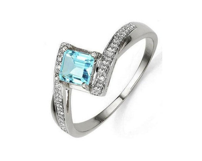 Elegant .83 Ct Sky Blue Topaz & Genuine Diamond Platinum over 925 Sterling Silver Ring, TG-BTD01-P925 Gemstone Estate Jewelry