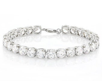 35.90 Ct White Topaz Sterling Silver Bracelet 925 Gemstone Estate Statement Jewelry Gift Women Birthday Christmas
