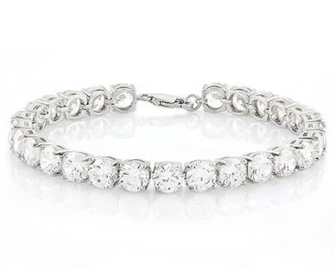 35.90 Ct White Topaz Sterling Silver Bracelet 925 Gemstone Estate Statement Jewelry Gift Women Birthday Christmas