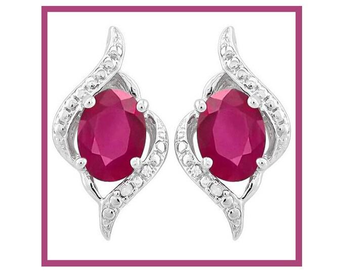 2 1/5 Ct Genuine African Ruby Earrings 925 Sterling Silver Rubies Stud Earring