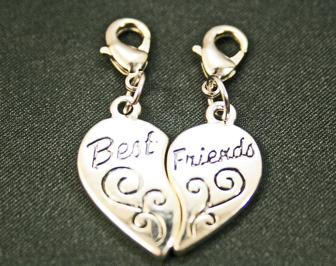 Best Friends Heart Charm set 2 Antique Silver Bracelet Charms Necklace Pendant Jewelry Charms Earrings Earring Zipper Pulls
