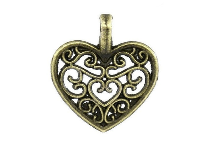 2 Heart Charms Filigree Antique Bronze 2 Sided Bracelet Charm Necklace Pendant Jewelry Supplies Charms Craft Projects Earrings Earring