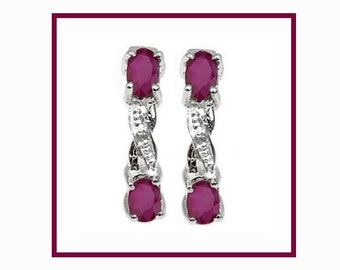 Genuine .85 Ct Ruby and Diamond Sterling Silver Earrings, 925 Gemstone Estate Jewelry Earring, TG-RubDia01-925