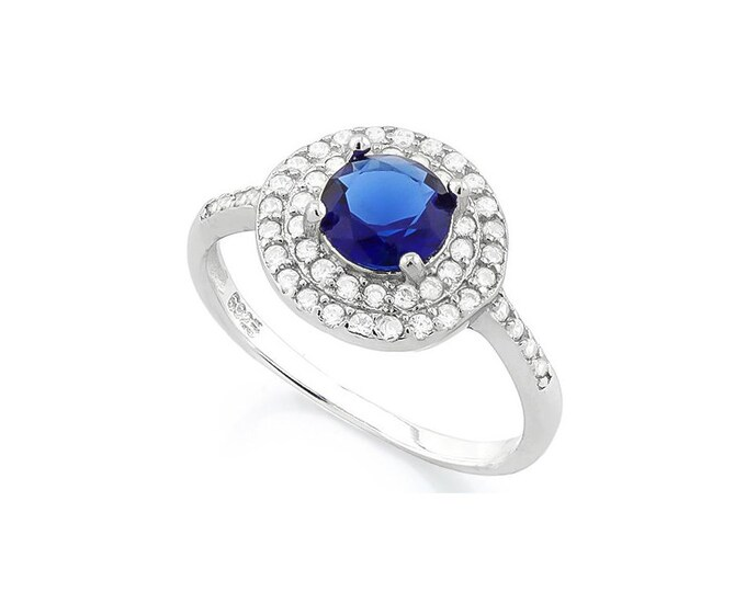 1 1/3 Ct Created Blue Sapphire and Cubic Zirconia CZ Sterling Silver Halo Ring 925 –Cocktail Ring – Statement Ring - Estate Jewelry Size 7