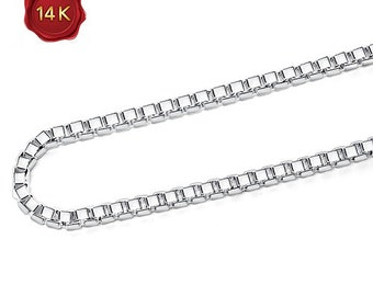 9 Inch 14KT 0.7MM White Gold Box Chain Anklet Bracelet Gift Women Birthday