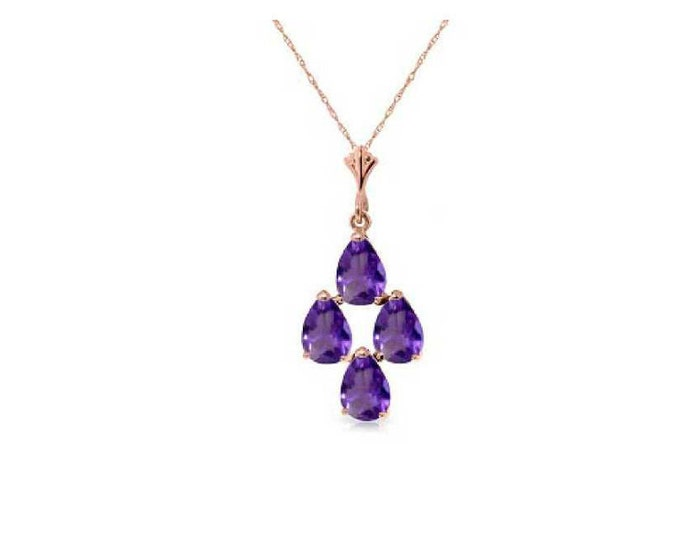 1.5 Ct Purple Amethyst Pendant on a 14Kt Solid Rose Gold Rope Chain Necklace Gemstone Estate Jewelry