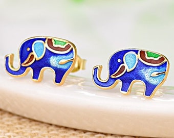 Elephant Chinoiserie Stud Earrings Hand Painted Sterling Silver Estate Jewelry 925 Earring Gift Women Birthday Christmas Mother Chic