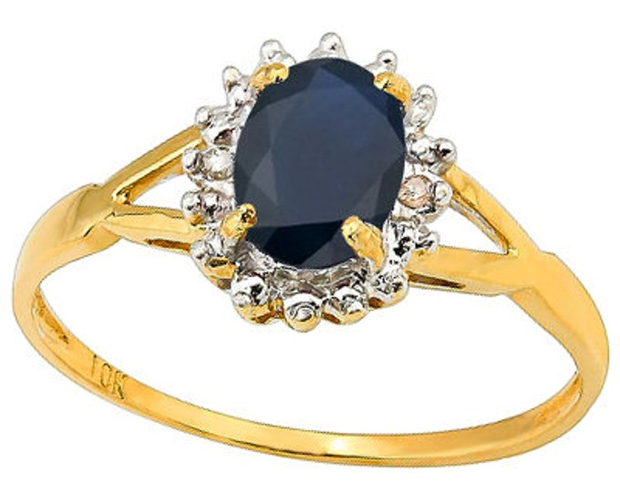 4/5 Ct Diffusion Sapphire and Diamond 10 Kt Solid Yellow Gold Ring Estate Jewelry Statement Cocktail Engagement Band Ring Size 7