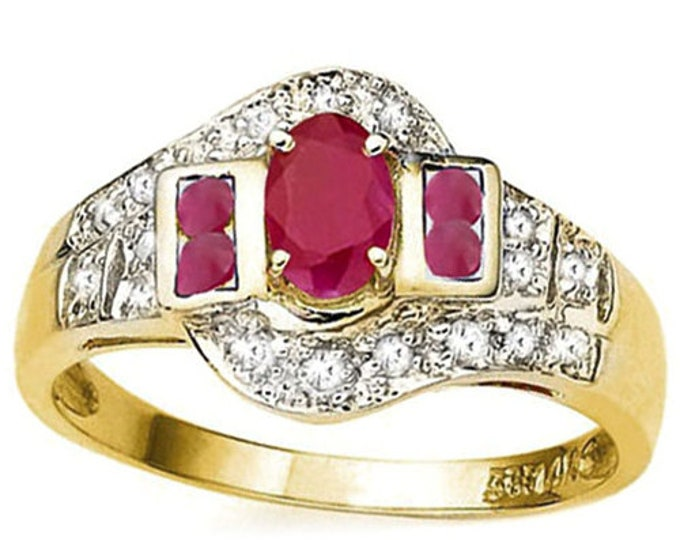 3/4 Ct African Ruby and Diamond 14K Solid Yellow Gold Ring - Cocktail Ring – Statement Ring - Estate Jewelry Size US 5 3/4