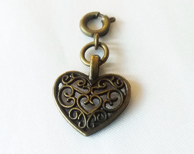 Bronze Filigree Heart Charm Antique Bronze 2 Sided Bracelet Charms Necklace Pendant Jewelry Supplies Charms Craft Projects Earrings Earring