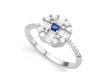 1.6 Ct Created Blue and White Sapphire & Cubic Zirconia CZ Solid Sterling Silver Ring 925 Statement Cocktail Ring Estate Jewelry Size 7
