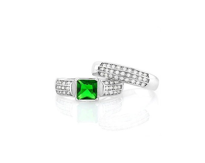 1.5 Ct Created Emerald & Cubic Zirconia CZ Sterling Silver Ring 925 Engagement Ring Wedding Band – Statement Ring - Estate Jewelry Size 7