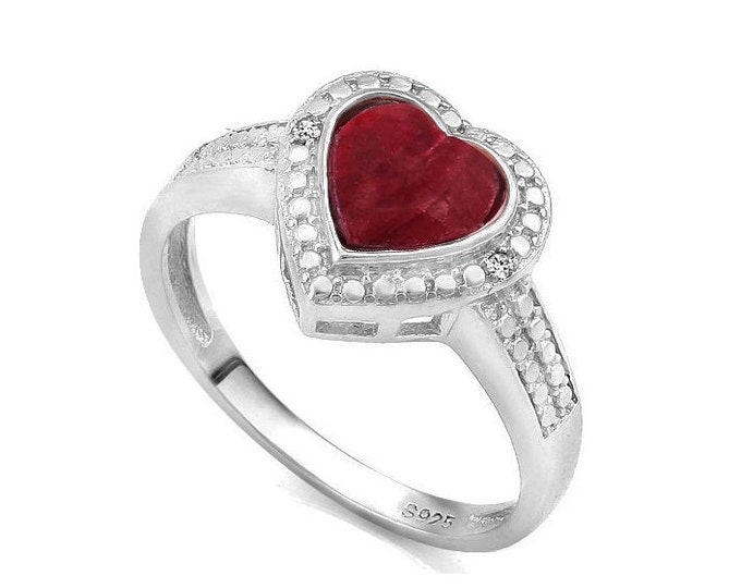 1 1/2 Ct Enhanced Genuine Ruby & Diamond Ring Heart Cut 925 Sterling Silver Ring Gemstone Estate Jewelry Rings Size 7