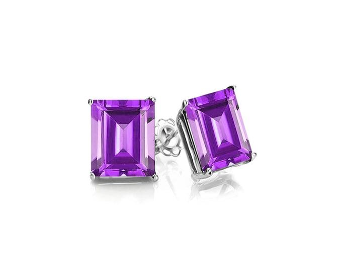1.9 Ct Emerald Cut Amethyst 10K Solid White Gold Stud Earrings – Floral Lavender Gemstone Estate Jewelry