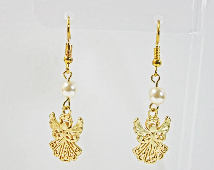 Golden Guardian Angel Earrings With Pearl Bead Gold Plated Charms Earring Angels Charm Earring