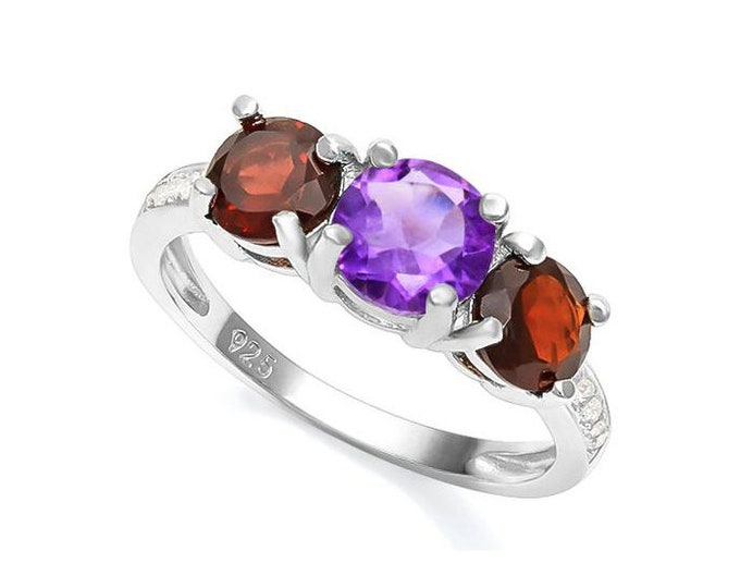 Genuine 3/4 Ct Amethyst & 1 1/5 Ct Garnet Ring 925 Sterling Silver with Created White Sapphires TG-AmGar-01