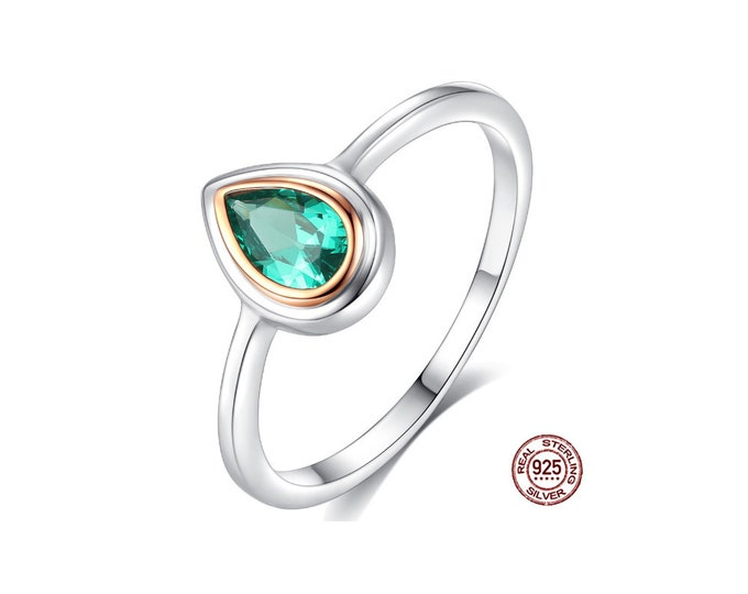 2/5 Ct Created Emerald Pear Cut Sterling Silver Ring 925 Ring Statement Estate Jewelry  Rings Size 7