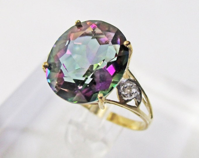 4.46 Ct Mystic Topaz Gemstone & Diamond 10Kt Solid Yellow Gold Ring Estate Jewelry Statement Cocktail Ring Size 7