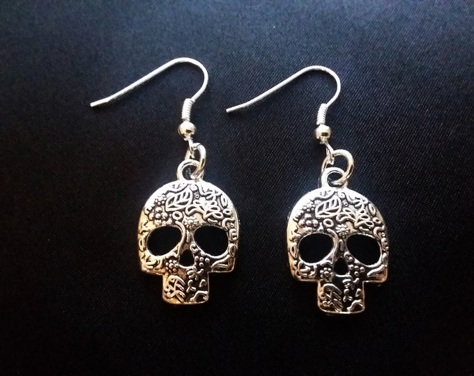 Skull Charm Earrings Day of  the Dead Sugar Skull on Silver Plated French Hook Style Ear Wire Halloween Earring Charms TG-SkEW-002