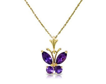 Beautiful 0.6 CT Purple Amethyst Butterfly Pendant on an 18 Inch 14 KT Solid Yellow Gold Rope Chain Necklace Gemstone Estate Jewelry