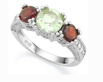 1 Ct Green Amethyst, 2 1/2 Cts Garnet and Created Diamonds Sterling Silver Ring, 925 Gemstone Estate Jewelry, TG-GAmyGar01-925