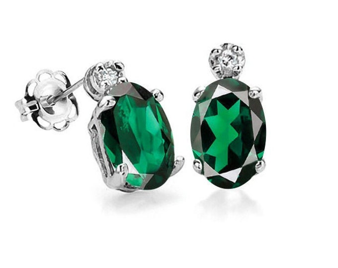 Stunning 3/4 Carat Russian Emerald and Diamond 10K White Gold Stud Earrings – Emeralds Gemstone Estate Jewelry
