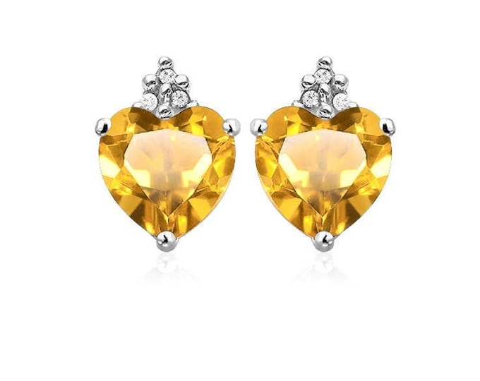 2 Ct Heart Cut Citrine and Diamond Earrings 10K Solid White Gold Stud Post Gemstone Estate Jewelry Women Gift Birthday