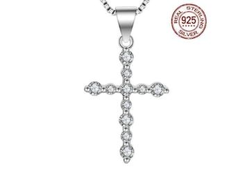 Elegant Cross Necklace Pendant AAAAA Cubic Zirconia CZ 925 Sterling Silver Cross Confirmation Gift  Christian Gift Baptism Estate Jewelry