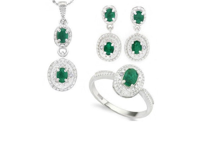 1.48 Ct Emerald and Diamond Pendant Necklace, Ring and Earring Sterling Silver Set 925 Estate Jewelry Earrings