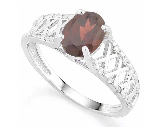 1 2/5 Ct GARNET & CZ Cubic Zirconia Sterling Silver Ring 925 Gemstone Cocktail Statement Ring Estate Jewelry Size 7 US