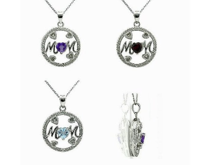 2/5 Ct Amethyst, 2/3 Ct Garnet or 1/2 Blue Topaz & Diamond 925 Sterling Silver MOM Pendant on a 18  Inch Sterling Silver Box Chain Necklace