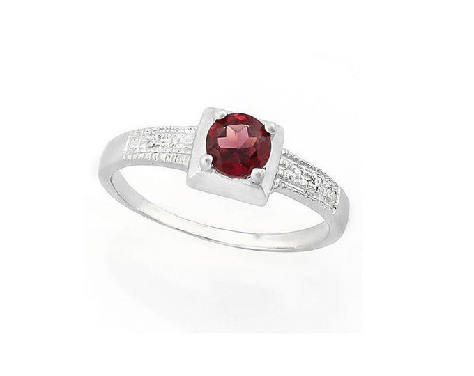 1/2 Ct Persian Red Garnet and Diamond Solid Sterling Silver Ring 925 Gemstone Engagement Statement Cocktail Ring Estate Jewelry Size 8