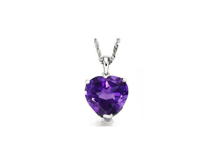 1/2 Carat Purple Amethyst Heart Cut 10Kt Solid White Gold Necklace Pendant Jewelry (Necklace Chain not Included)