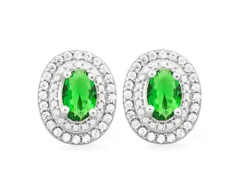 2 Ct Created Emerald and Created Diamond Earrings 925 Sterling Silver Gemstone Emeralds & Rubies Post Earring – TG-CECD01-925