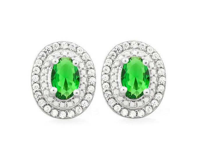 2 Ct Created Emerald and Created Diamond Earrings 925 Sterling Silver Gemstone Emeralds & Diamonds Post Earring