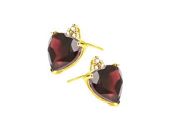 2 Ct Garnet and Diamond 10K Solid Yellow Gold Stud Earrings Heart Cut – Gemstone Estate Jewelry