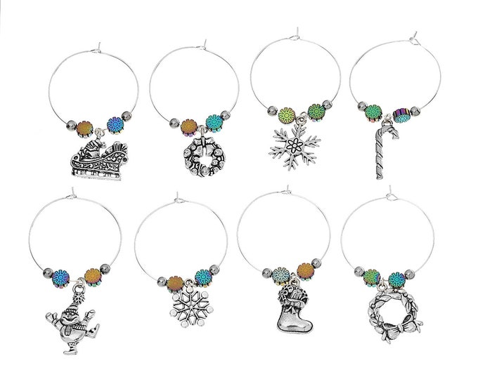 8 Christmas Holiday themed Wine Glass Charms Antique Silver Finish Snowman Santa Sleigh Stocking Wreath Snow Flake Candy Cane Wine Charm