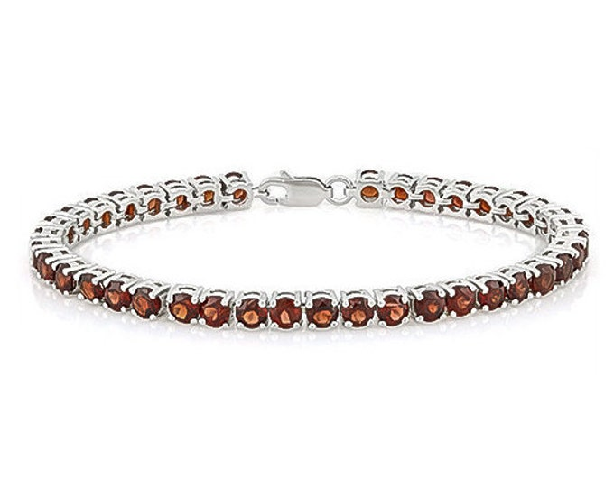 17.04 Ct Garnet Sterling Silver Bracelet 925 Gemstone Estate Statement Jewelry Tennis Bracelet