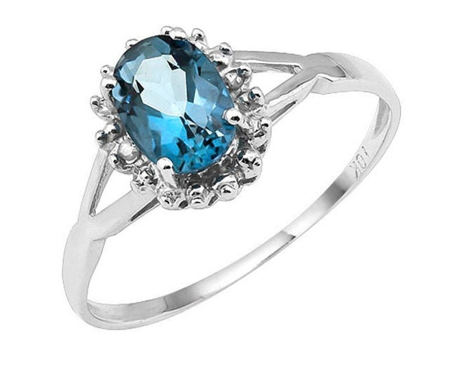 1 Carat Baby Swiss Blue Topaz and Diamond 10Kt Solid White Gold Ring Gemstone Statement Cocktail Ring Estate Jewelry Size 7