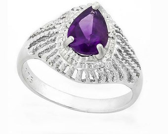 Genuine .95 Carat Purple Amethyst and Diamond Sterling Silver Ring, 925 Gemstone Estate Jewelry TG-AmyDi05-925