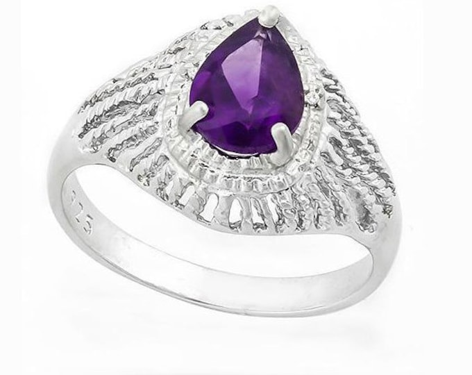 Genuine .95 Carat Purple Amethyst and Diamond Sterling Silver Ring, 925 Gemstone Estate Jewelry TG-AmyDi05-925